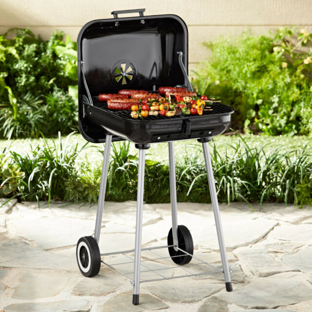 "Backyard Charcoal Grill square charcoal grill 17.5"" 16 burger 302 sq cooking surface"