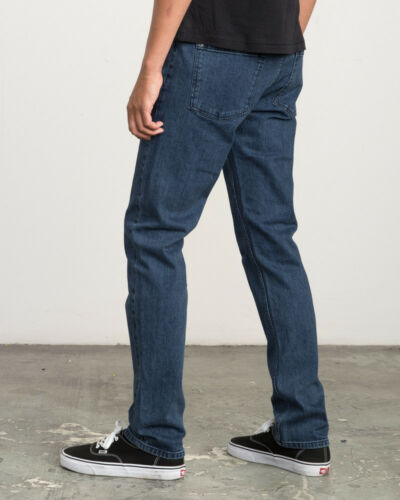 RRP $99.99 RVCA NWT Men/'s Hexed Indigo Straight Stretch Denim Jeans Size 32