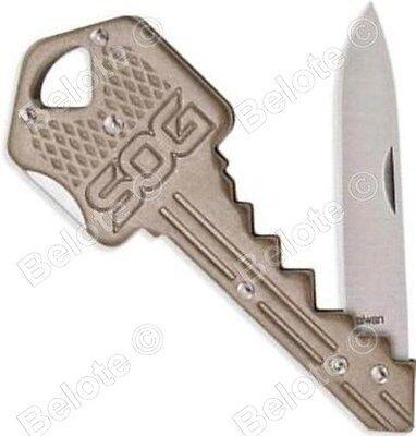 """SOG Key Knife Brass, Lockback, Folder 420J2 Steel, 4"""", 0.70 oz KEY102-CP NEW"""