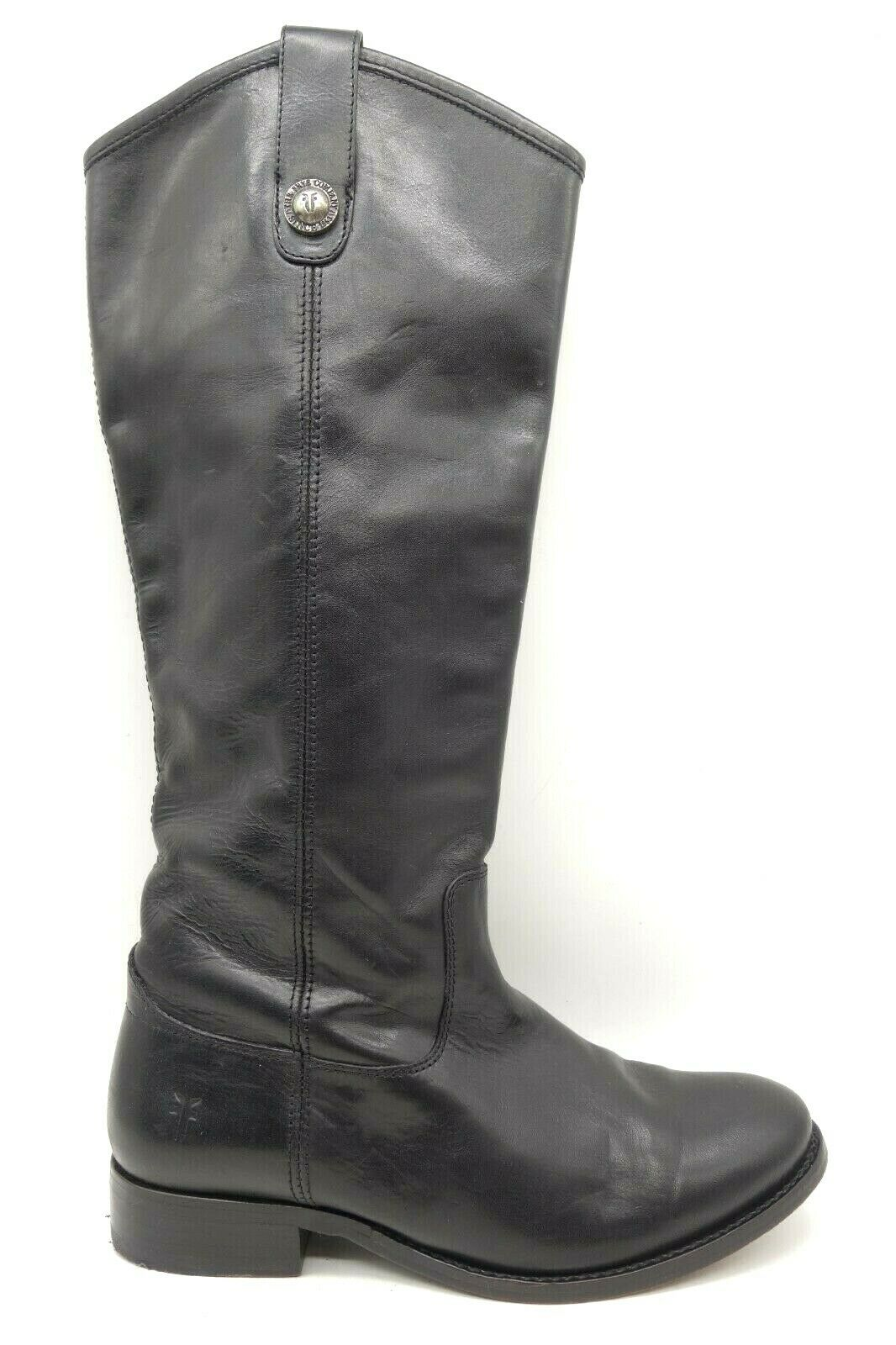Frye Logo Melissa Button Black Leather Pull On Riding Boots Shoes Women's 6 B