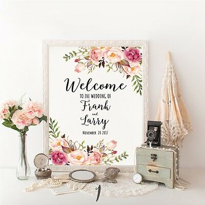 Wedding Welcome Sign.Personalised Large Wedding Welcome Sign Order Of The Day Canvas Floral Marble Ebay