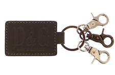 NWT DOLCE & GABBANA D&G Keychain Keyring Unisex Leather Metal Ring Hook Logo