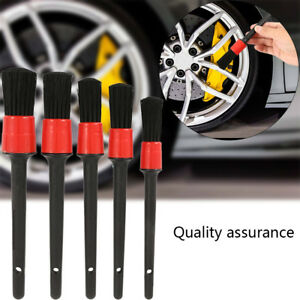 5PCS-Detailing-Brush-Cleaning-Natural-Boar-Hair-Brushes-Car-Auto-Detail-Tool-EL