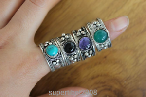 RG329 Tibetan Silver Inlaid Onyx Turquoise Stone 12mm Adjust Ring Handmade Nepal