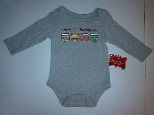 Baby Food Jars 1st Thanksgiving Long Sleeve Cotton Bodysuit Newborn