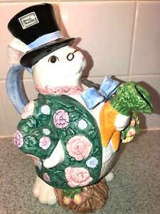 EASTER-Fitz-amp-Floyd-Bloomers-Rabbit-Bunny-Pitcher-Serving-Teapot-1991-Fritz-F-amp-F