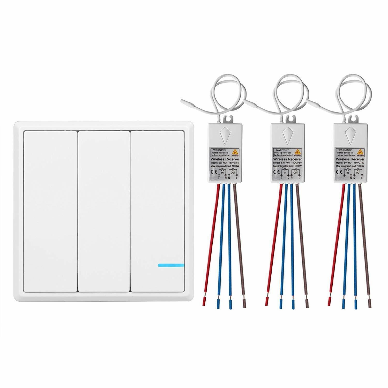 3 Taster Funkschalter Empfänger Fernbedienung LED Licht Wand Wechselschalte 240V  | Sale Düsseldorf