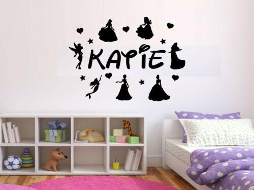 Wall Art Sticker Girls Bedroom Personalised Disney Princess/'s /& Name