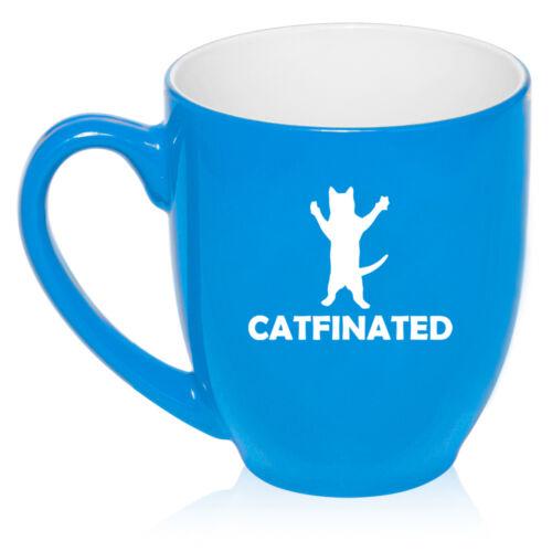 16 oz Bistro Mug Ceramic Coffee Glass Tea Cup Catfinated Funny Cat Caffeine