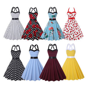 Dress-Rockabilly-Neck-Halter-Party-Cocktail-Vintage-S-Style-Swing-1950s-Women