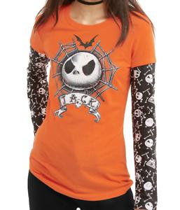Nightmare Before Christmas Jack Skellington Tee Shirt Halloween Skull 2Fer