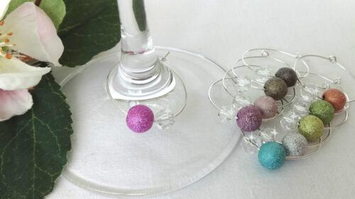 10 Set Stardust Perles Flûte à champagne remorque glasmarkierer Fête Deco coloré Bague