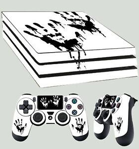 PS4-Pro-Peau-Encre-Main-Imprimes-Death-Console-Autocollant-Kit-2-X-Pad-Vinyle