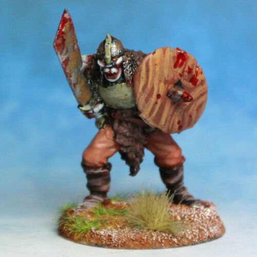 Half Orc Warrior advancing with sword and shield 28mm Unpainted Metal Wargames