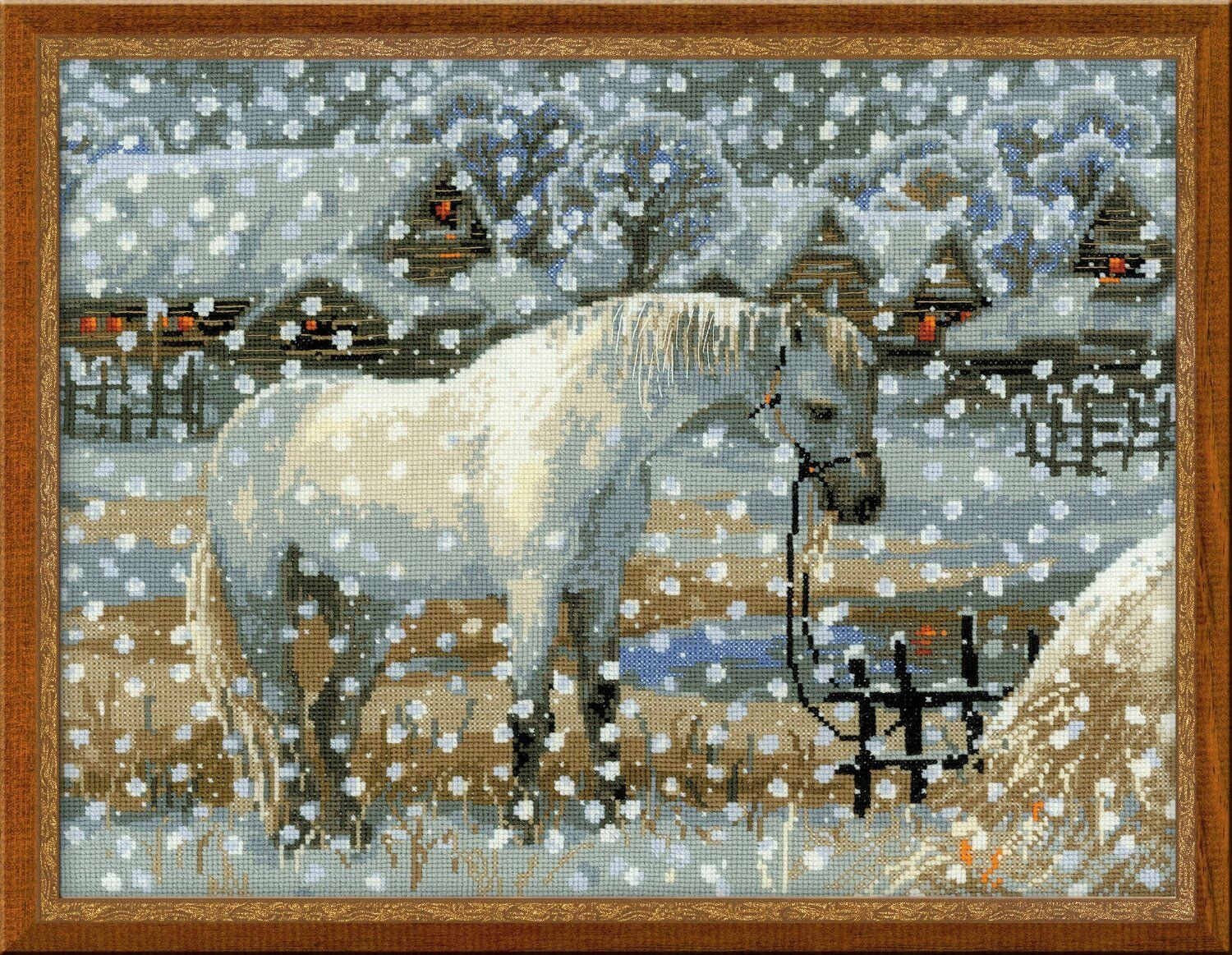 Snowy Winter captif cheval horse Cross Stitch Par Kit Par Stitch Riolis 089e1f