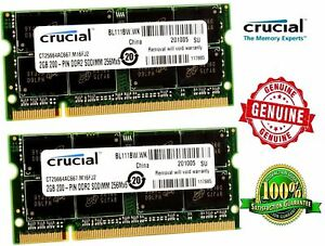 New-Genuine-Crucial-Memory-Ram-Laptop-DDR2-PC2-5300S-667-MHz-SODIMM-2x-lot-GB