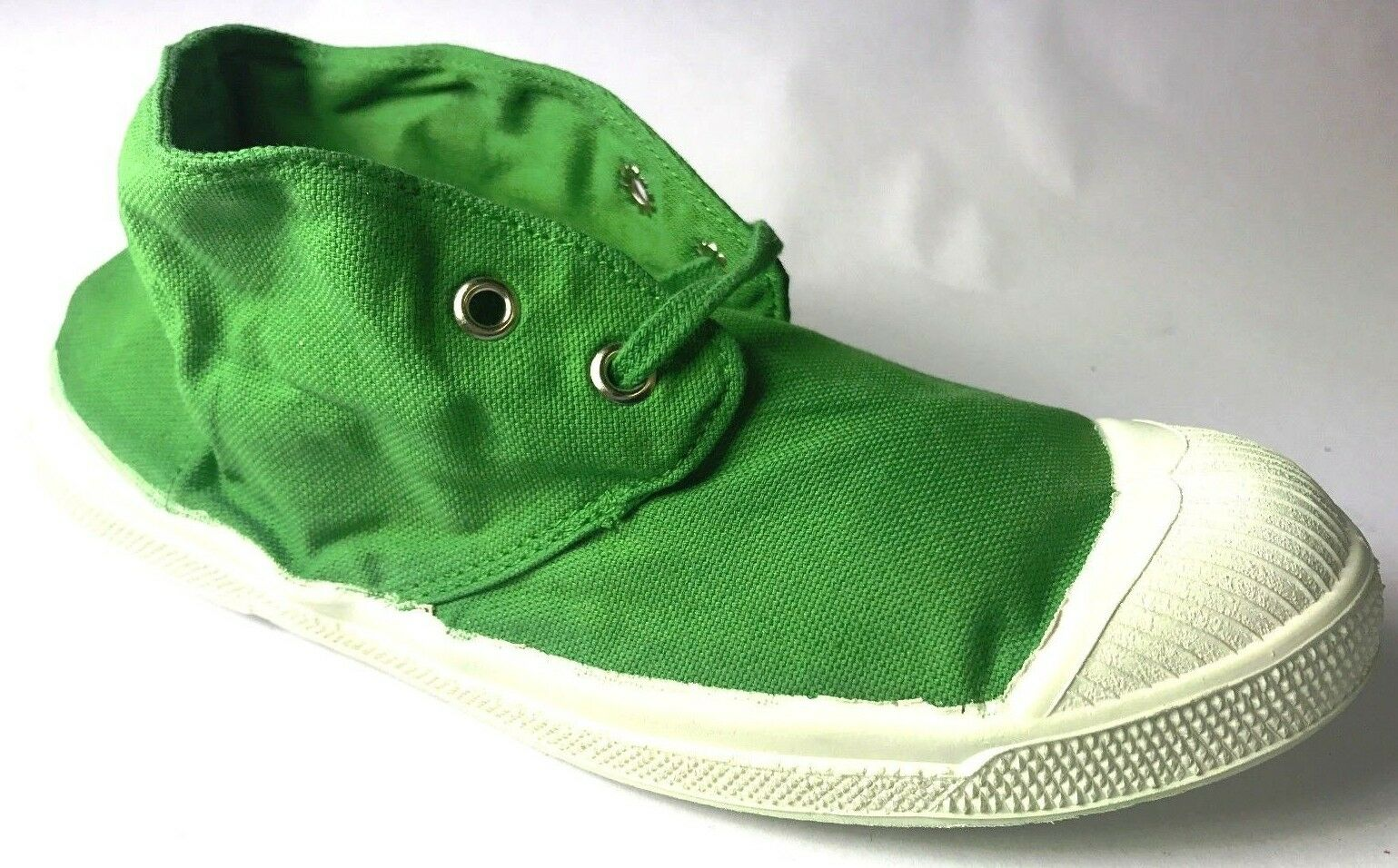 *** NOUVEAU *** BENSIMON Chaussures de Tennis Vert Lacets Toile