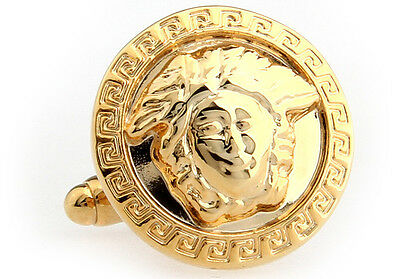 704 Gold Medusa Greek Mythology Protectres?s Novelty Wedding mens Cufflinks & Cl
