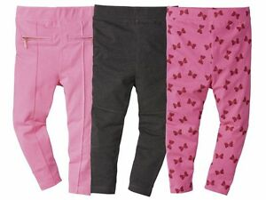Girls-leggings-Pink-Sparkles-Bow-ZIP-Grey-12-24-m-2-3-4-5-6-age-Pink-Cotton-Rich