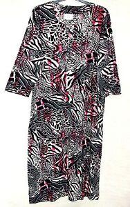 Neu-Ulla-Popken-Schwarz-Multi-Bedruckte-Baumwolle-Jerseykleid-UK-16-18