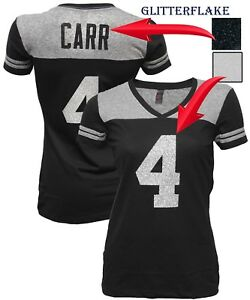 best sneakers 1415f 7d819 Details about Customized Womens V-Neck Blinged Black T-shirt,Derek  Carr,Jersey