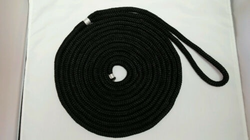 DOUBLE BRAID NYLON DOCKLINE 1//2 x 20/' BLACK