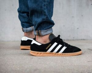 best cheap c7e68 8a673 Image is loading Adidas-Hamburg-Black-Suede-White-Stripe-Men-039-