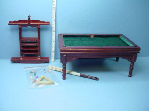 Miniature Pool Table wi Access Mahogany #T3476 Town Square 1/12th