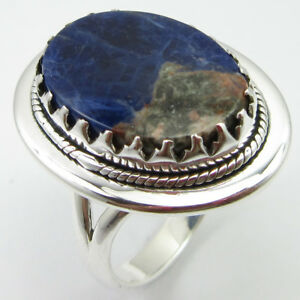 925-Solid-Silver-Sodalite-Prong-Setting-Ring-Size-8-75-New-Gift