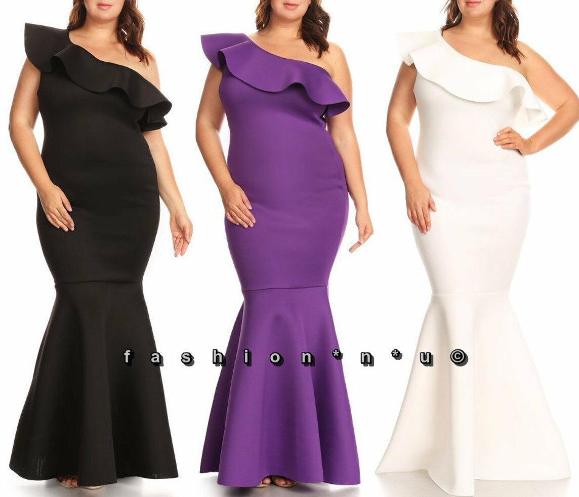 Plus Größe One Shoulder Ruffle Mermaid Maxi Dress Bodycon Gown
