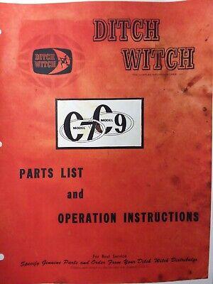 Ditch Witch C7 C9 Caminar Detras Trencher Propietario Utilidad De Servicio Y Piezas Manual Ebay