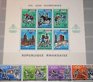 RWANDA-RUANDA-1968-261-64-A-Block-13-A-250-54-Olympics-Mexico-Javelin-Sport-MNH