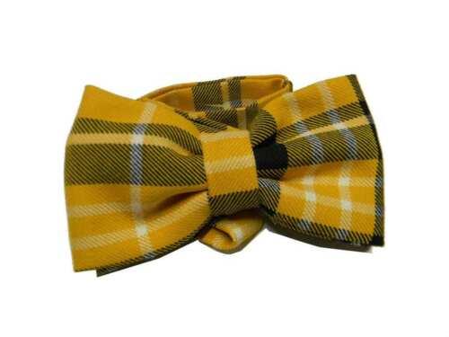 Papillon di lana giallo wool a quadri cravatta a farfalla tartan scozia m italy