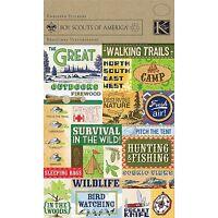 Cub Boy Scout Scrapbook Sticker 22p Tent Camping Knife First Aid Hiking Girl Fir