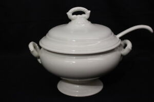 New 3pc. Pottery Barn ROPE Handle WHITE Earthenware Soup Tureen w/Lid & Ladle