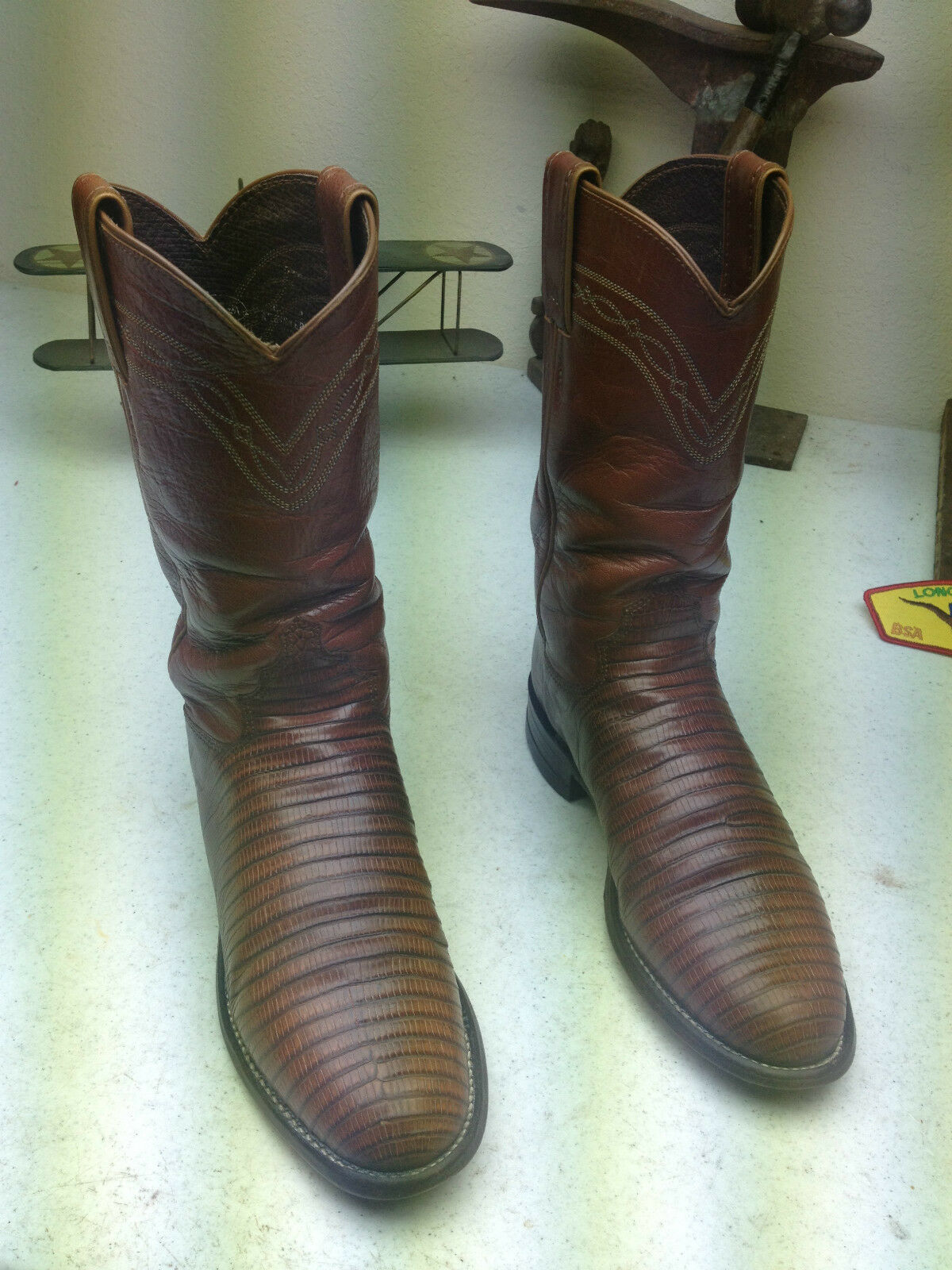 JUSTIN WESTERN COWBOY MADE IN USA COGNAC BROWN LEATHER LIZARD DANCE BOOTS 4C