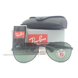 059e80d9de New Ray-Ban RB3549 006 9A Black Aviator Sunglasses W Green Polarized ...