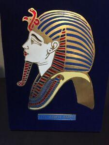 RARE KING TUT ANKH AMEN Egyptian Egypt  PORCELAIN METAL PICTURE ON VELVET FRAME