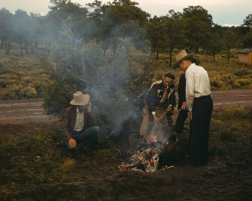 Men light a campfire beside road in Pie Town New Mexico 1940 Photo Print
