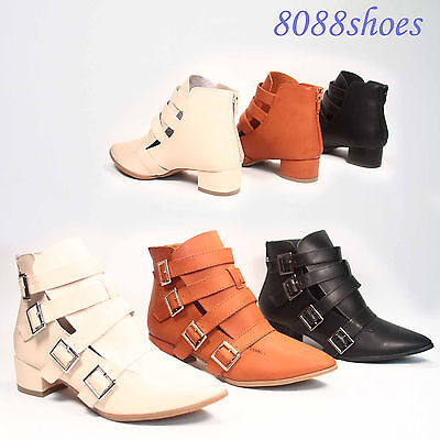 Women's Stylish Strappy Cut Out Low Heel Pointy Toe Bootie Shoes Size 5.5-10 New