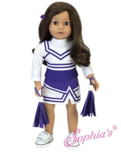 "Purple & White Cheerleader Dress White Pom Poms fit 18"" American Girl Doll CHEER"