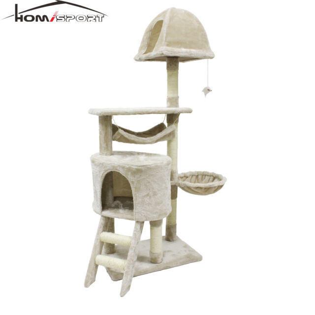46b0984d7541 Cat Tree Beige Kitten Condo Furniture Scratching Post Pet Toy Play House