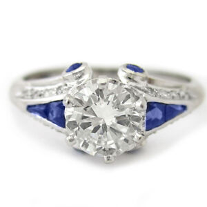Round Cut Antique Style Diamond Engagement Ring With Sapphire Accents R209 Ebay