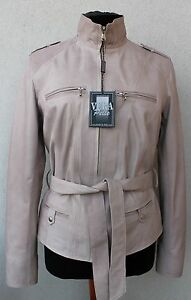 Slim Xs Fit Jacket Belted Taupe Light Leather Women Handmade Grey Italian qvICwUptq