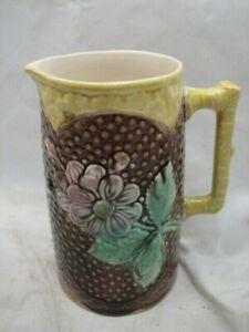 Antique-Majolica-Art-Pottery-Pitcher-Zinnia-Daisy-Cosmos-Flower-Floral