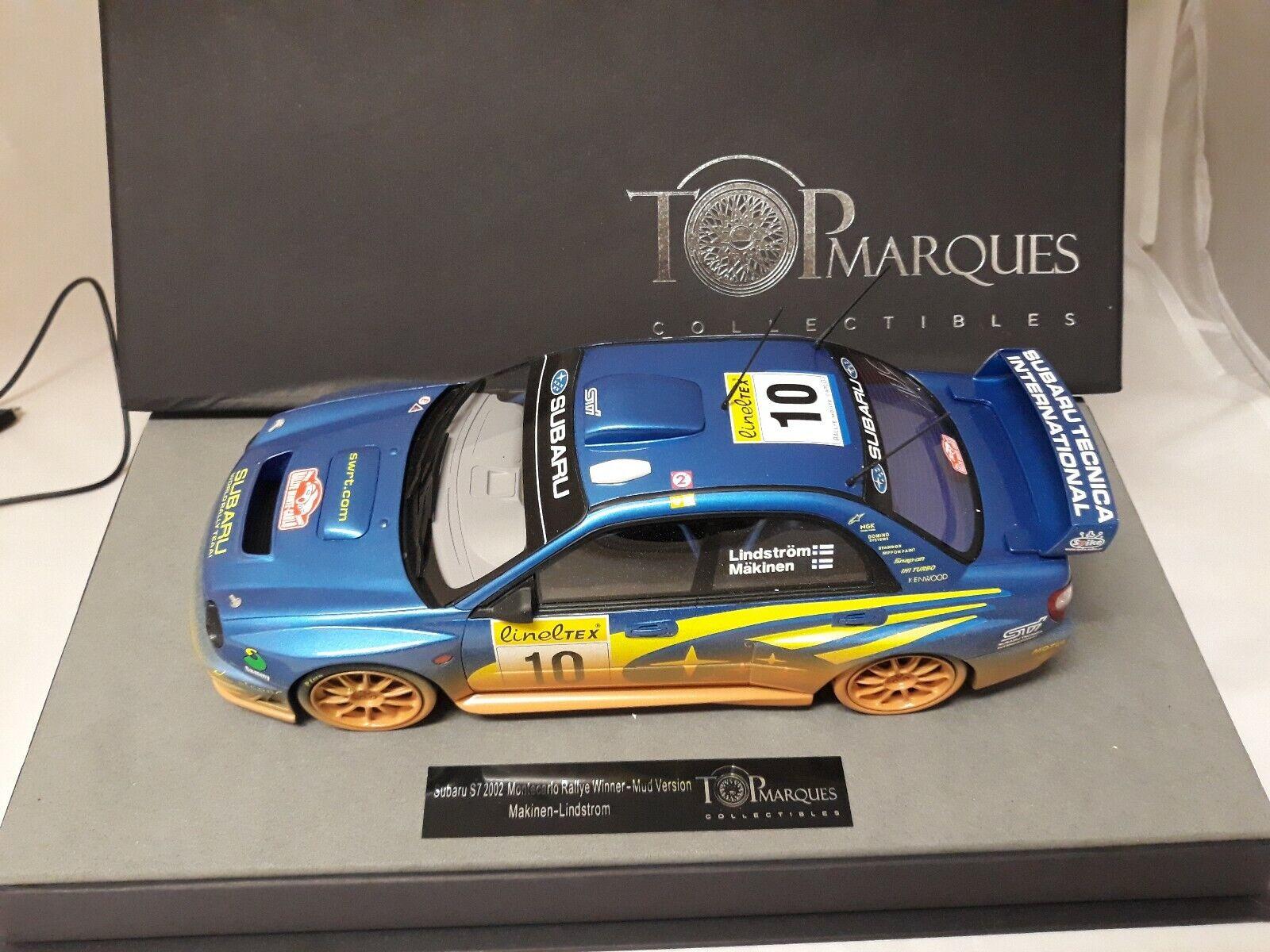 wholesape barato Top Marques Subaru S7 winner Rally MonteCochelo 2002 DIRTY Makinen Makinen Makinen Lindstrom 1 18  orden ahora disfrutar de gran descuento