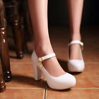 Womens High Block Heel Mary Janes Court Pump Sweet Candy Wedding Shoes Plus Size