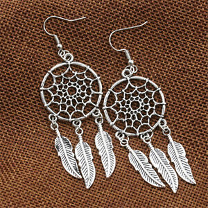Fashion-Jewelry-Vintage-Silver-Plated-Dream-Catcher-Long-Drop-Earring-Gift-RS