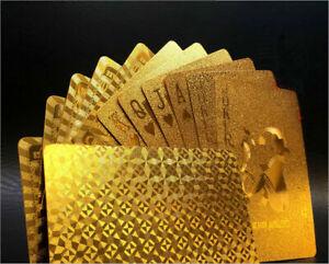 Wasserdicht-Spielkarten-Deck-Magie-Karte-Gold-Folie-Poker-Karten-Kunststoff-U1N9