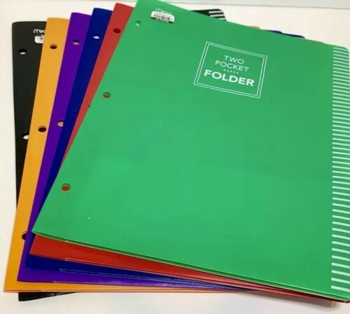 6 Mead Two Pocket Plastic Folders Multicolor